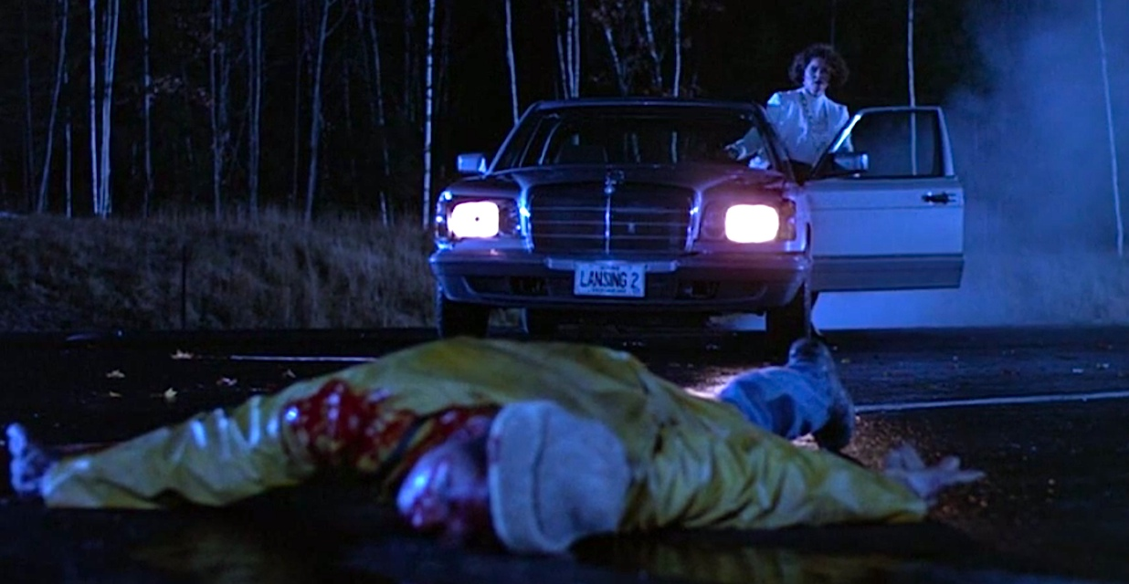 A hitchhiker falls victim to a hit and run in Creepshow 2
