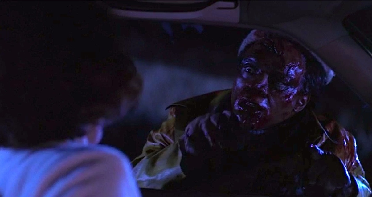 A hitchhiker is the victim of a hit and run in Creepshow 2