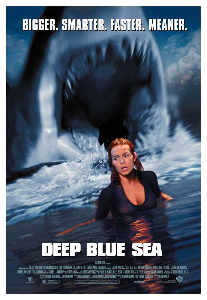 Deep Blue Sea horror movie poster