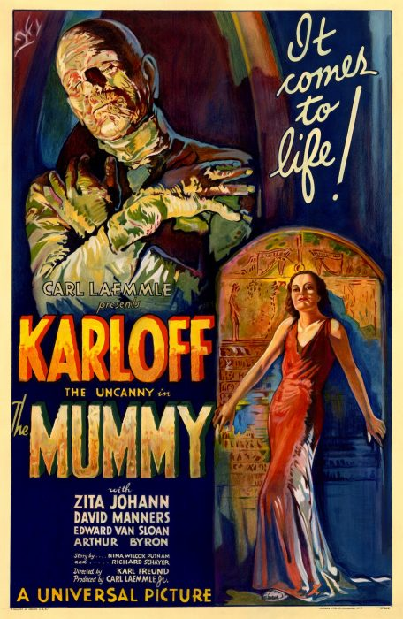 Boris Karloff in The Mummy (1932) horror movie poster