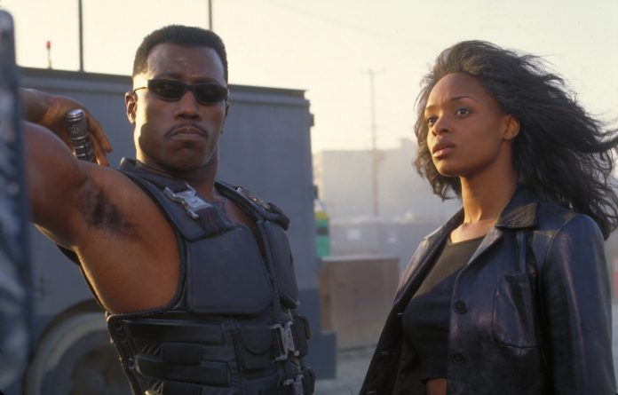 Wesley Snipes and N'Bushe Wright in Blade