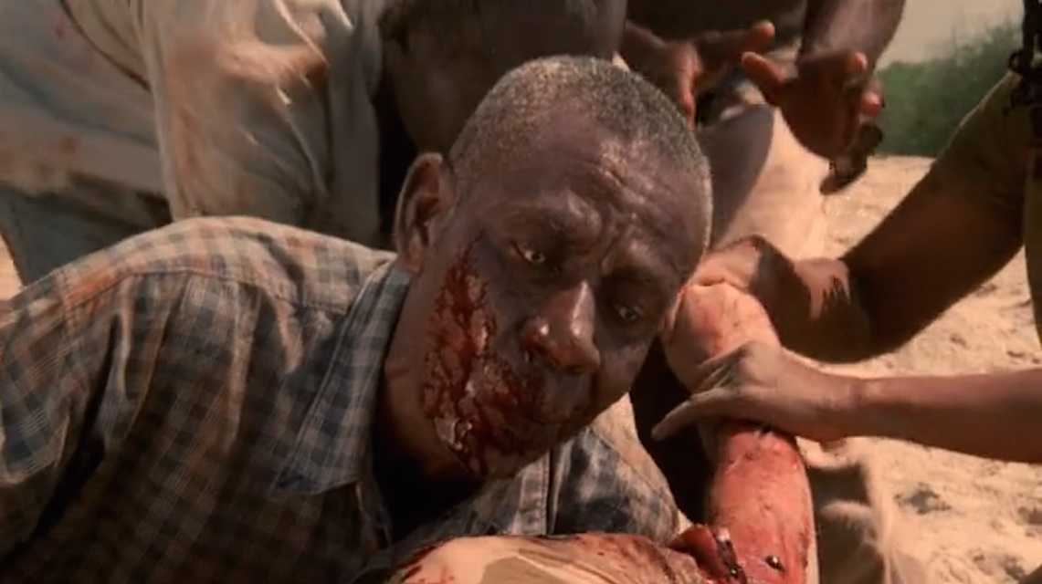 A scene from the zombie movie The Dead