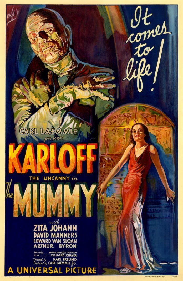 Boris Karloff in The Mummy (1932) horror movie poster