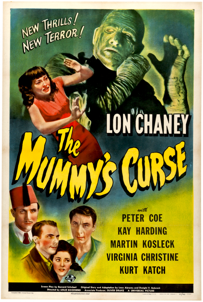 Lon Chaney Jr. in The Mummy's Curse horror movie poster